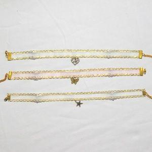 Jewelry - Bundle: Lace pink and white choker.